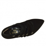 Ankle-high closed shoe with 5 straps in black suede heel 9 - Available sizes:  42, 43