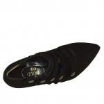 Femme cheville-haut escarpin avec 5 courroies en daim noir avec talon 9 - Pointures disponibles:  42, 43