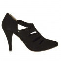 Strappy ankle shoe in black suede heel 9cm