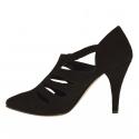 Scarpa da donna accollata con listini ed elastici in camoscio nero tacco 9 - Misure disponibili: 42