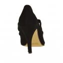 Zapato cerrado para mujer con elasticos en gamuza negra tacon 9 - Tallas disponibles:  42