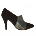 Woman's anklehigh pointy shoe in black suede and black and lead grey leather heel 9