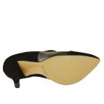 Cheville-haut chaussure à bout pointu en daim noir et cuir noir et gris métal talon 9 - Pointures disponibles:  42, 43