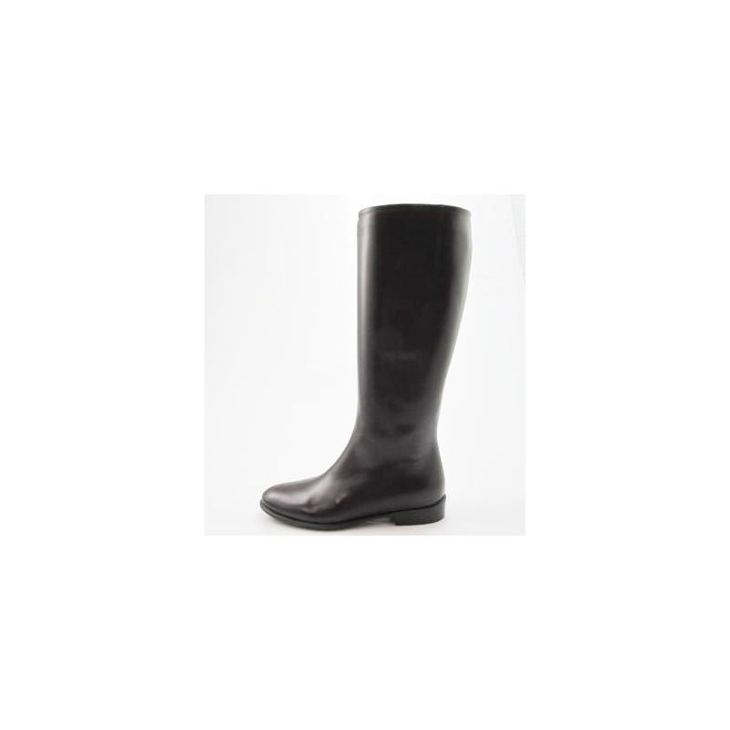 Woman's boot with zipper in dark brown leather heel 2 - Available sizes:  31