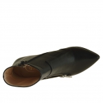 Femme bottines en cuir noir  avec fermeture éclair avec talon 9 - Pointures disponibles:  42