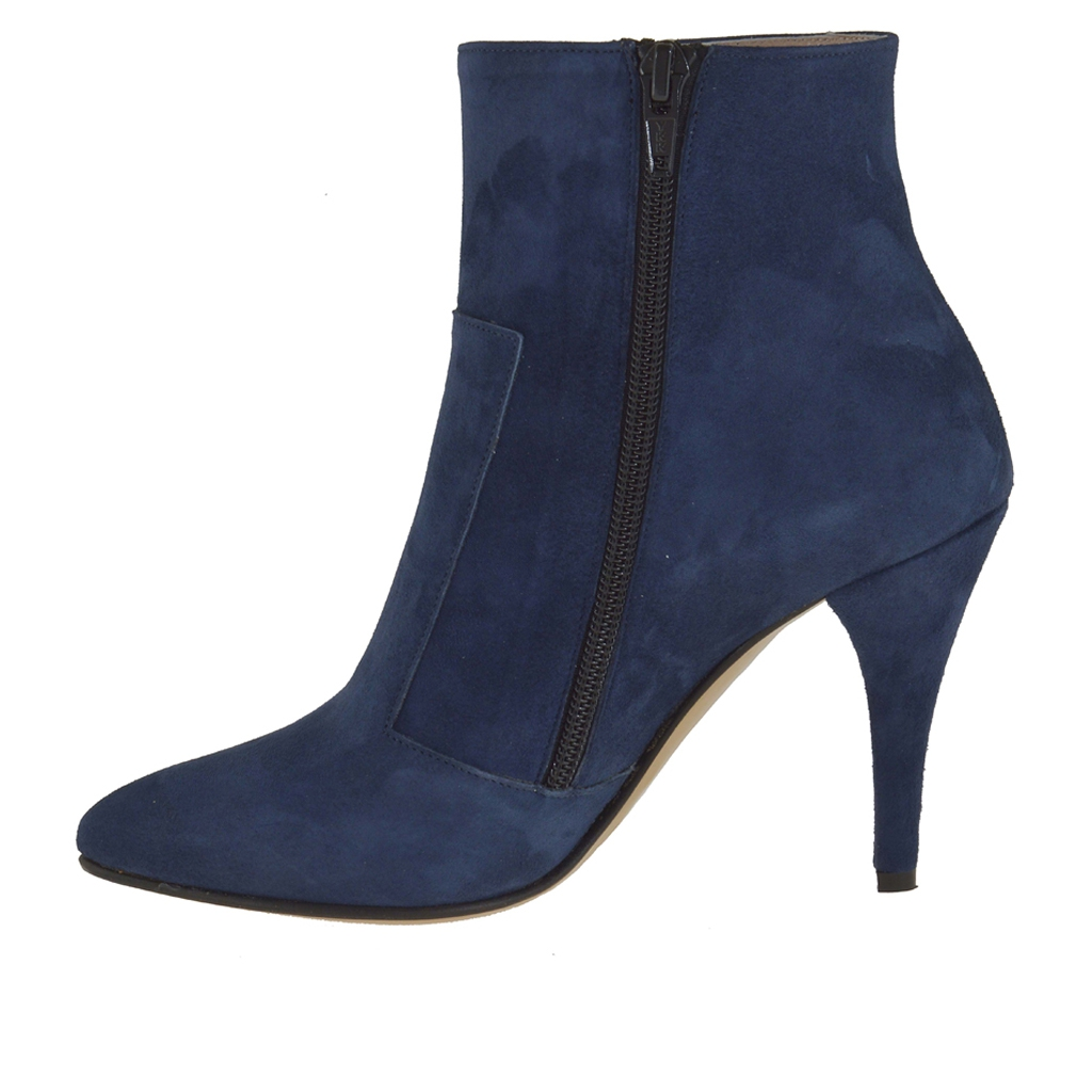 ankle boot with zipper in blue suede heel 9 ghigocalzature