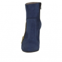 Woman's ankle boot with zipper in blue suede heel 9 - Available sizes:  42