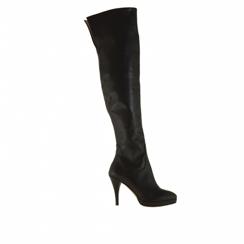 Woman plateau knee high boot with zipper in black leather heel 9 - Available sizes:  31, 32