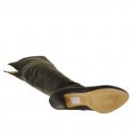Femme botte à talon compensé avec fermeture éclair en cuir noir talon 9 - Pointures disponibles:  31