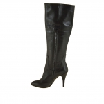 Woman's boot with zipper in black leather heel 9 - Available sizes:  31
