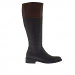 Femme bottes avec fermeture éclair en cuir noir et marron talon 3 - Pointures disponibles:  32