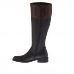 Boot wth zipper in black and brown leather heel 3 - Available sizes:  32