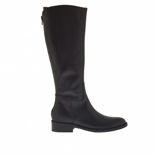 Classique bottes de femmes avec fermeture éclair en cuir noir talon 3 - Pointures disponibles:  32