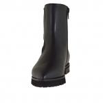 Femme bottines avec fermeture éclair et élastique en cuir noir avec talon 2 - Pointures disponibles:  33