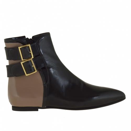 Femme bottes avec fermeture éclair et 2 boucles en cuir noir et taupe et talon 1 - Pointures disponibles:  32