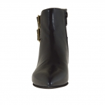 Woman ankle boot with zipper and 2 buckles in black and taupe leather with heel 1 - Available sizes:  32