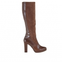 Woman platform boots with zipper in hazelnut leather and suede with heel 9