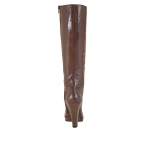 Woman platform boots with zipper in hazelnut leather and suede with heel 9 - Available sizes:  42