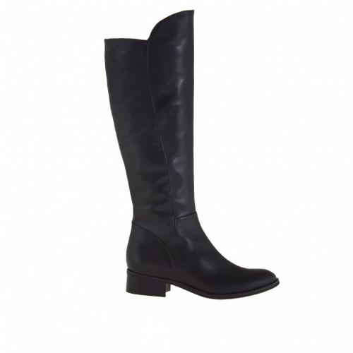 Bottes pour femmes avec fermeture éclair en cuir noir avec talon 3 - Pointures disponibles:  32