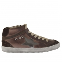 Woman shoeboot with laces and zipper in brown leather and suede with hidde wedge 2