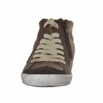Woman shoeboot with laces and zipper in brown leather and suede with hidde wedge 2 - Available sizes:  33