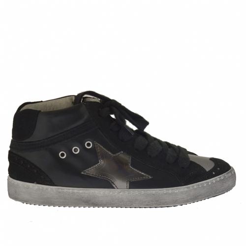 Chaussure pour femmes avec lacets en cuir et daim noir et cuir argent talon compensé caché 2 - Pointures disponibles:  32
