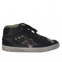 Chaussure pour femmes avec lacets en cuir et daim noir et cuir argent talon compensé 2