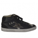 Woman's shoe with laces in black leather and suede and silver leather wedge 2