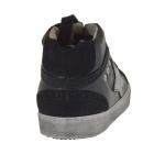 Chaussure pour femmes avec lacets en cuir et daim noir et cuir argent talon compensé 2 - Pointures disponibles:  32