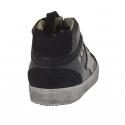 Zapato alto al tobillo con cordones en piel y gamuza de color negro y piel color negro cuña 2  - Tallas disponibles:  32