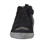 Woman's shoe with laces in black leather and suede and silver leather wedge 2 - Available sizes:  32