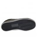 Damenschuh mit Schnürsenkeln aus schwarzem Leder und Wildleder und silbernem Leder Keilabsatz 2 - Verfügbare Größen:  32