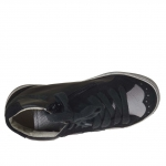 Woman's shoe with laces in black leather and suede and silver leather inner wedge 2