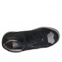 Scarpa da donna stringata in pelle e camoscio color nero e pelle argento zeppa 2 - Misure disponibili: 32