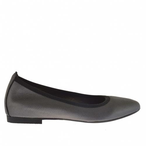 Femme ballerina chaussure en cuir avec impression en cuir gris métallisé avec talon 1 - Pointures disponibles:  44