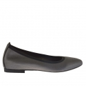 Woman ballerina shoes in printed leather in grey metallized colour with heel 1