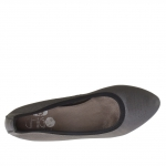 Woman ballerina shoes in printed leather in grey metallized colour with heel 1 - Available sizes:  44