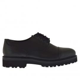 Eleganter Herrenschuh mit Schnürsenkeln aus schwarzem Leder - Verfügbare Größen:  47