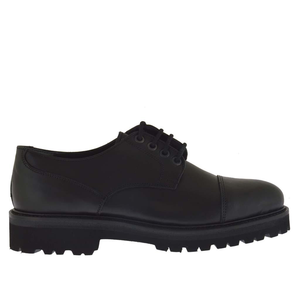 chaussure l gante pour hommes avec lacets en cuir noir ghigocalzature. Black Bedroom Furniture Sets. Home Design Ideas