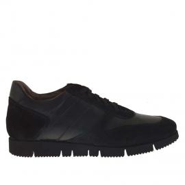 Zapato deportivo con cordones para hombre en piel y gamuza negra - Tallas disponibles:  37, 51