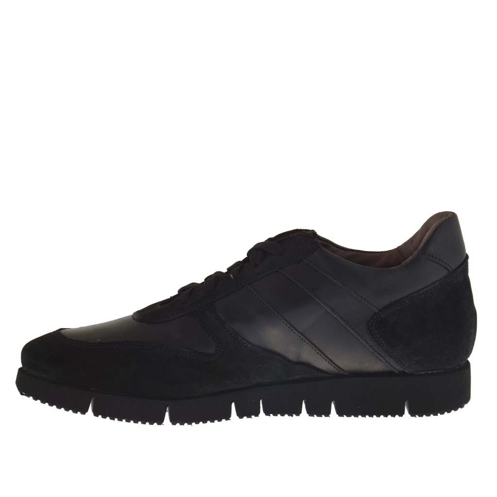 sport chaussure pour hommes avec lacets en cuir et daim noir ghigocalzature. Black Bedroom Furniture Sets. Home Design Ideas