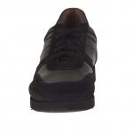 Scarpa da uomo stringata sportiva in pelle e camoscio colore nero - Misure disponibili: 37, 51