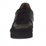 Sport chaussure pour hommes avec lacets en cuir et daim noir - Pointures disponibles:  37, 51