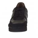 Chaussure sportif pour hommes avec lacets en cuir et daim noir - Pointures disponibles:  37