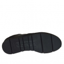 Men's casual shoe with laces in black leather and suede - Available sizes:  37