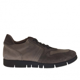 Men's casual shoe with laces in grey and taupe suede and nubuck leather
