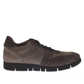 Zapato deportivo para hombre en gamuza y nubuk de color gris y gris pardo - Tallas disponibles:  37, 47