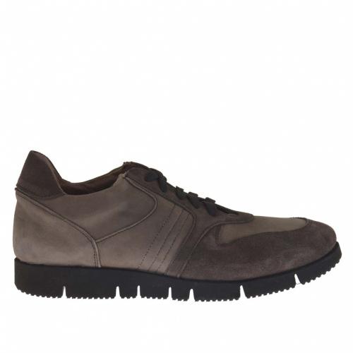 Homme sport chaussure avec lacets en daim et nabuk gris et taupe - Pointures disponibles:  37, 47