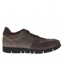 Homme sport chaussure avec lacets en daim et nabuk gris et taupe