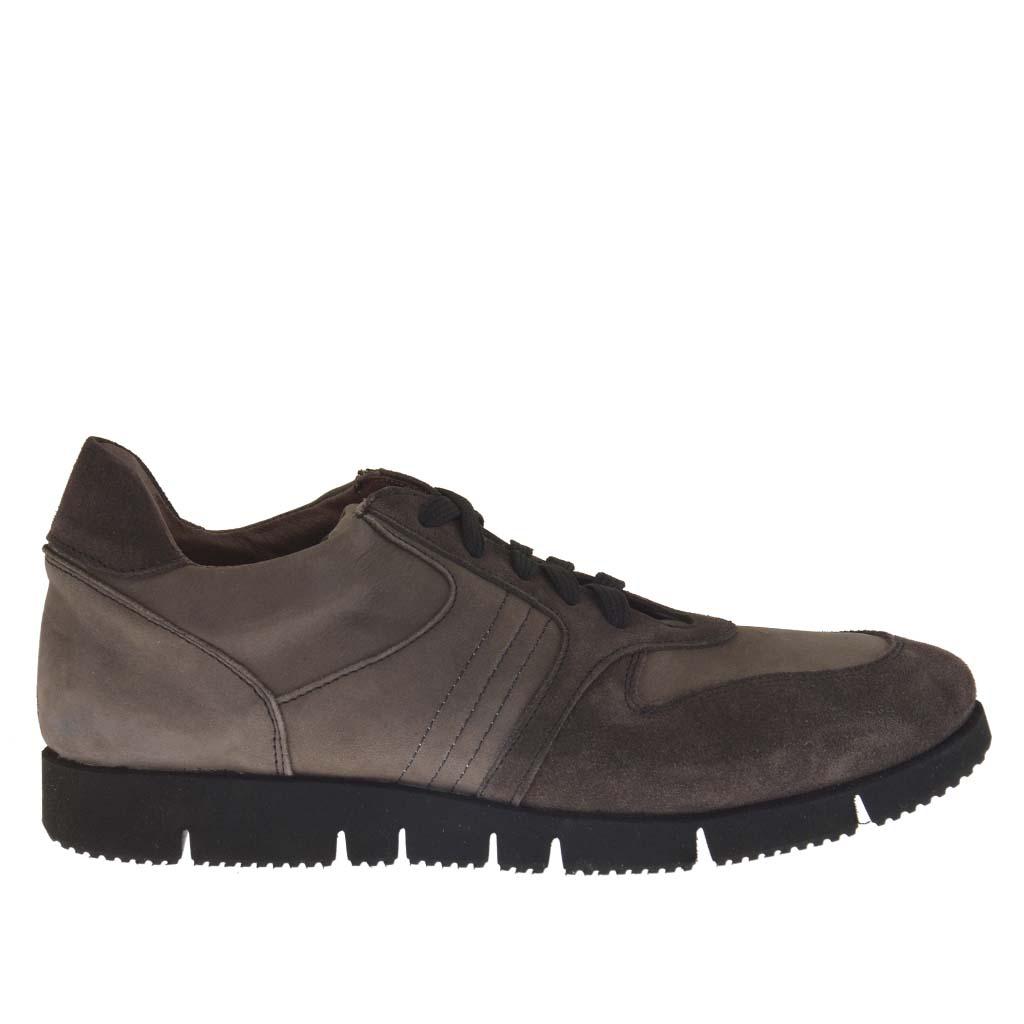 homme sport chaussure avec lacets en daim et nabuk gris et taupe ghigocalzature. Black Bedroom Furniture Sets. Home Design Ideas